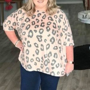 Pink and Grey Leopard Print Top